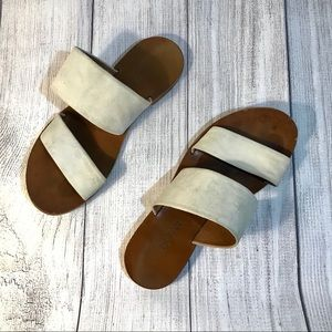 By Far 2 strap flat Suede and Leather Sandal